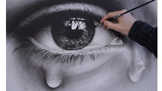 How to Draw a Realistic Eye with teardrop speed painting