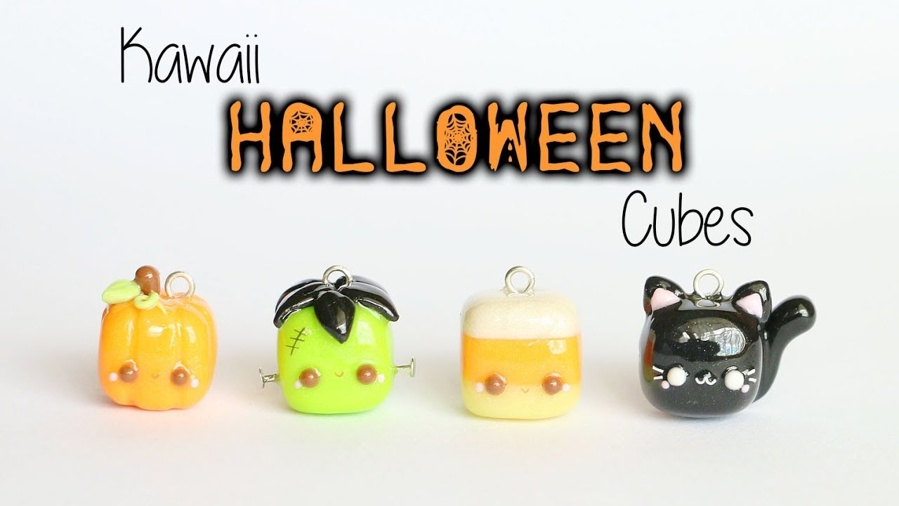 kawaii cubed halloween charms│4 in 1 polymer clay tutorial - youtube
