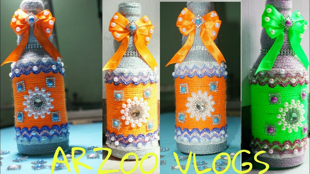 Diy Bottle Crafts New Design Yarn Wrapped Glass Bottle