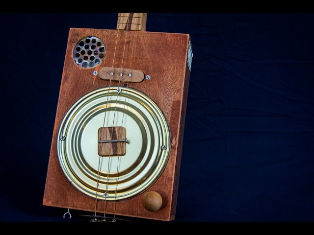 Handmade 3 string fretless Acoustic Electric Cigar Box resonator Guitar