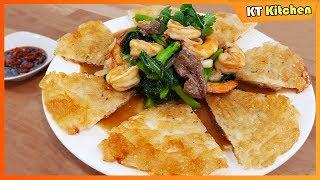 PHỞ ÁP CHẢO GIÒN - Cách Làm Đơn Giản Nhanh Gọn Ngon- SHRIMP Crispy Chow Fun Recipe - ENGLISH CAP