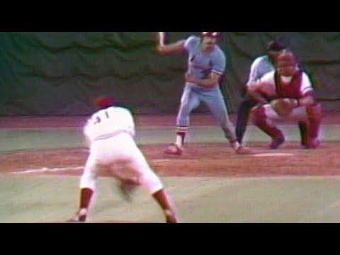 Dave Concepcion fields ball off Tom Seaver's glove