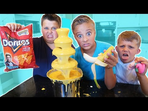 Cheese Fondue Chocolate Fountain Challenge! Kyle's Toys and Games