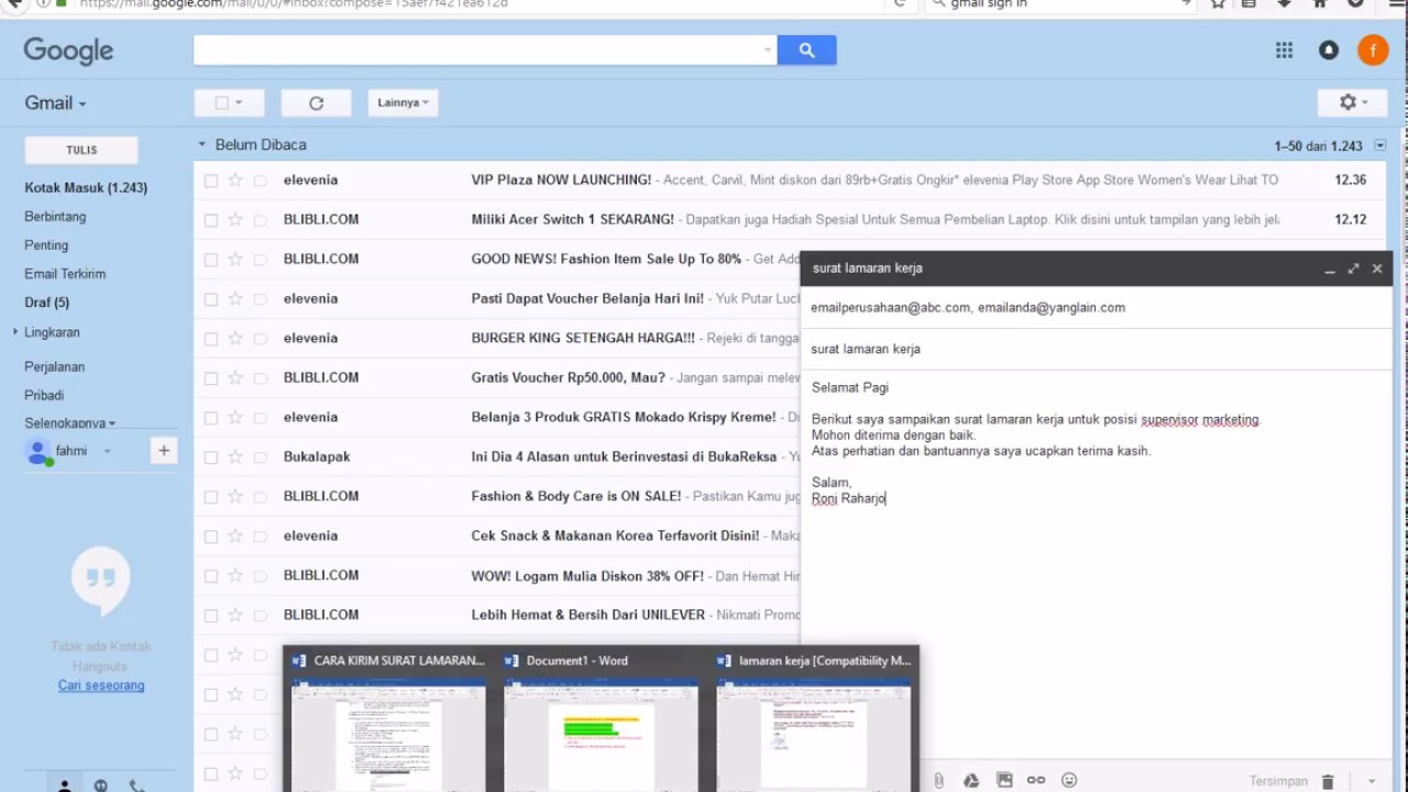 Cara Buat Dan Kirim Surat Lamaran Kerja Via Email Youtube