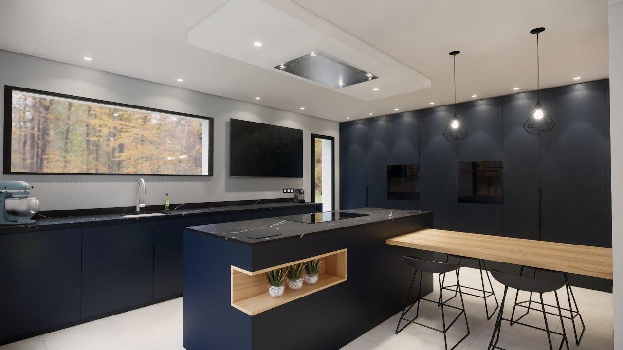 cuisine noire et bois avec mur d armoires