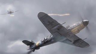 Воздушный бой Me109 и P-40. HD качество.