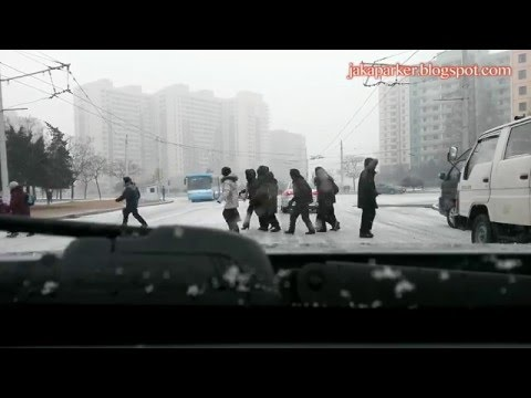 Pyongyang street in a snowy day - North Korea