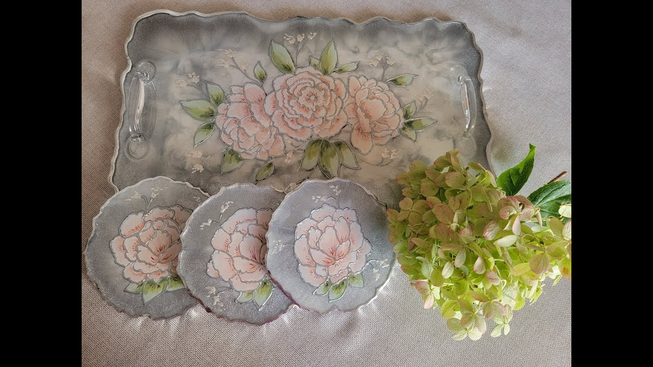 (769) GOREGOUS HAND PAINTED DELICATE FLOWERS RESIN TRAY With Silver With Sandra Lett 102321