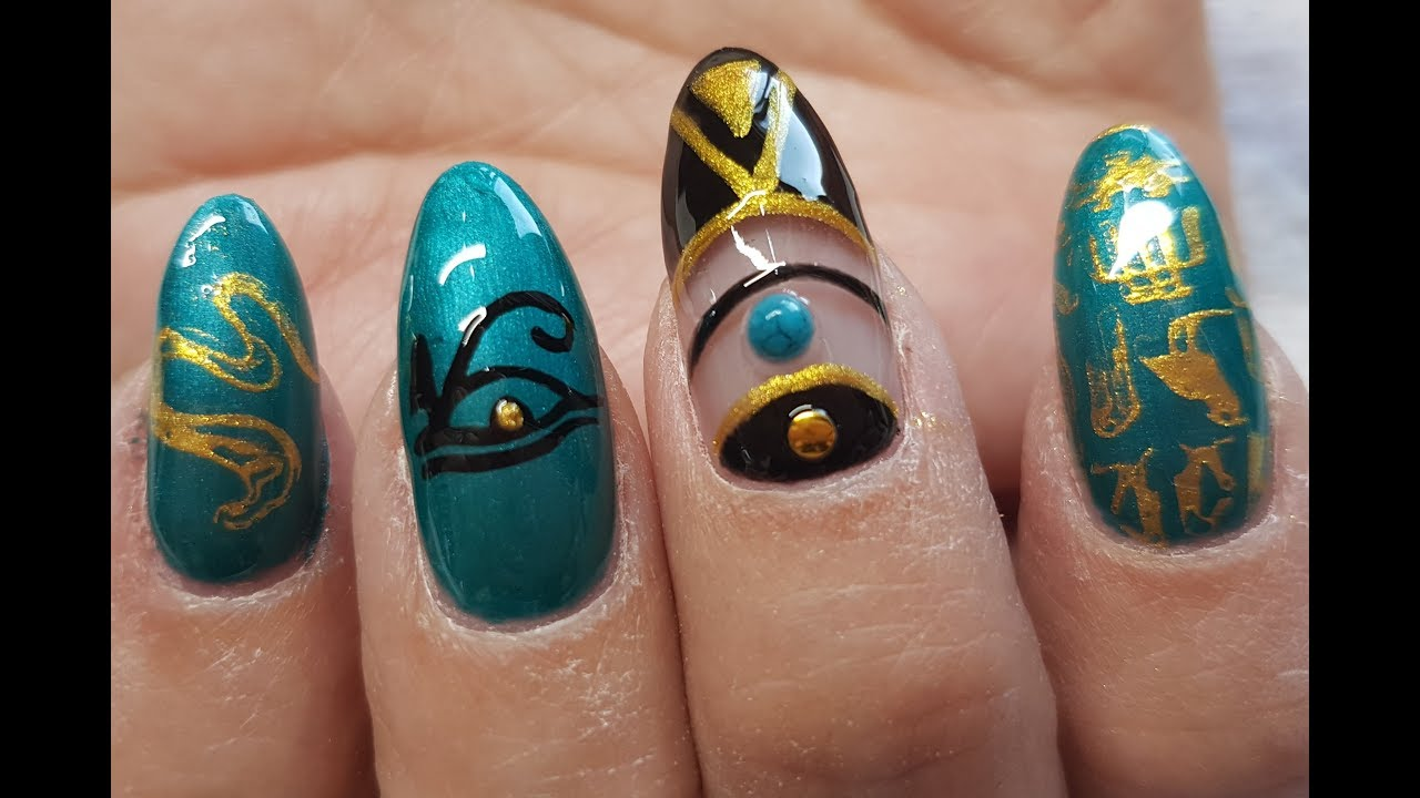 Acrylic Nails Ancient Egyptian Fancy Dress Nail Design - YouTube