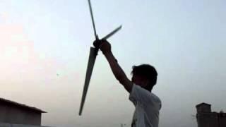 homemade wind TURBINE blade test (made by ZEESHAN AHMED)zeeshan_ahmed9382@yahoo.com