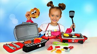 Nastya Pretend Play Cooking with BBQ Grill Toy