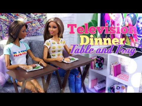 DIY - How to Make: Doll TV Tray and  TV Dinner   PLUS it really folds for easy storage!