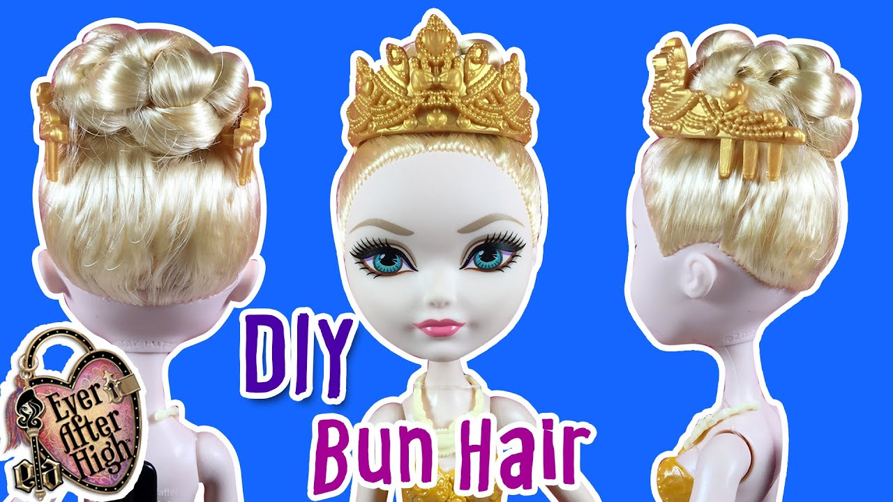 diy - how to make apple white hair braid bun hairstyle - ever after high doll - making kids toys