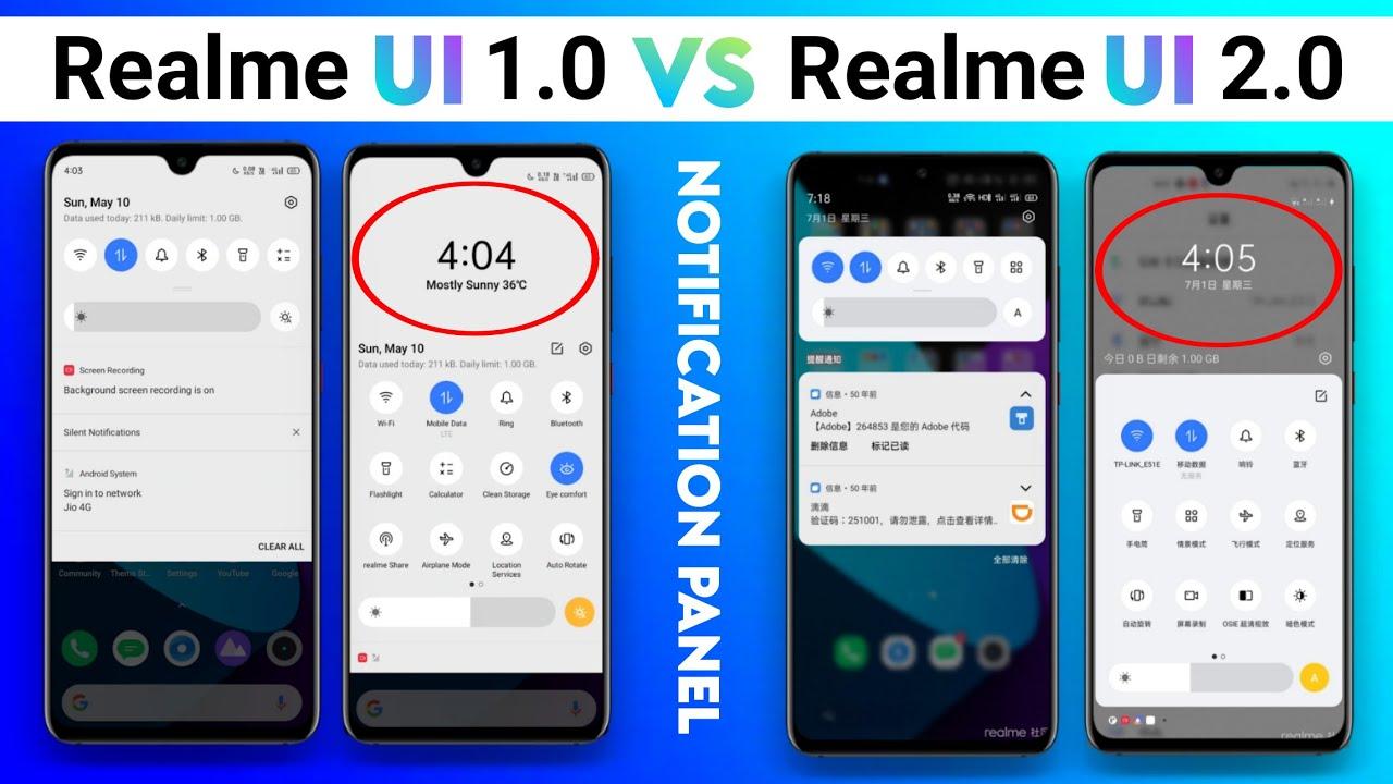 Realme UI 2.0 VS Realme UI Compare Notification Panel | Realme UI 2.0 first look notification panel