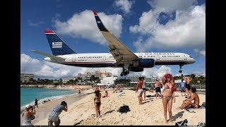Низкий полёт самолётов над землей. Низколетящие самолёты на пляже Махо-Бич,Сен-Мартен - № 1