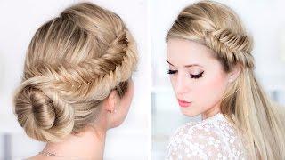 Свадебные/вечерние причёски быстро и легко, самой себе, для средних/длинных волос(В этом видео уроке я вам покажу шаг за шагом, как самой себе за 5-15 минут сделать причёски с плетением на..., 2015-12-13T12:53:04.000Z)
