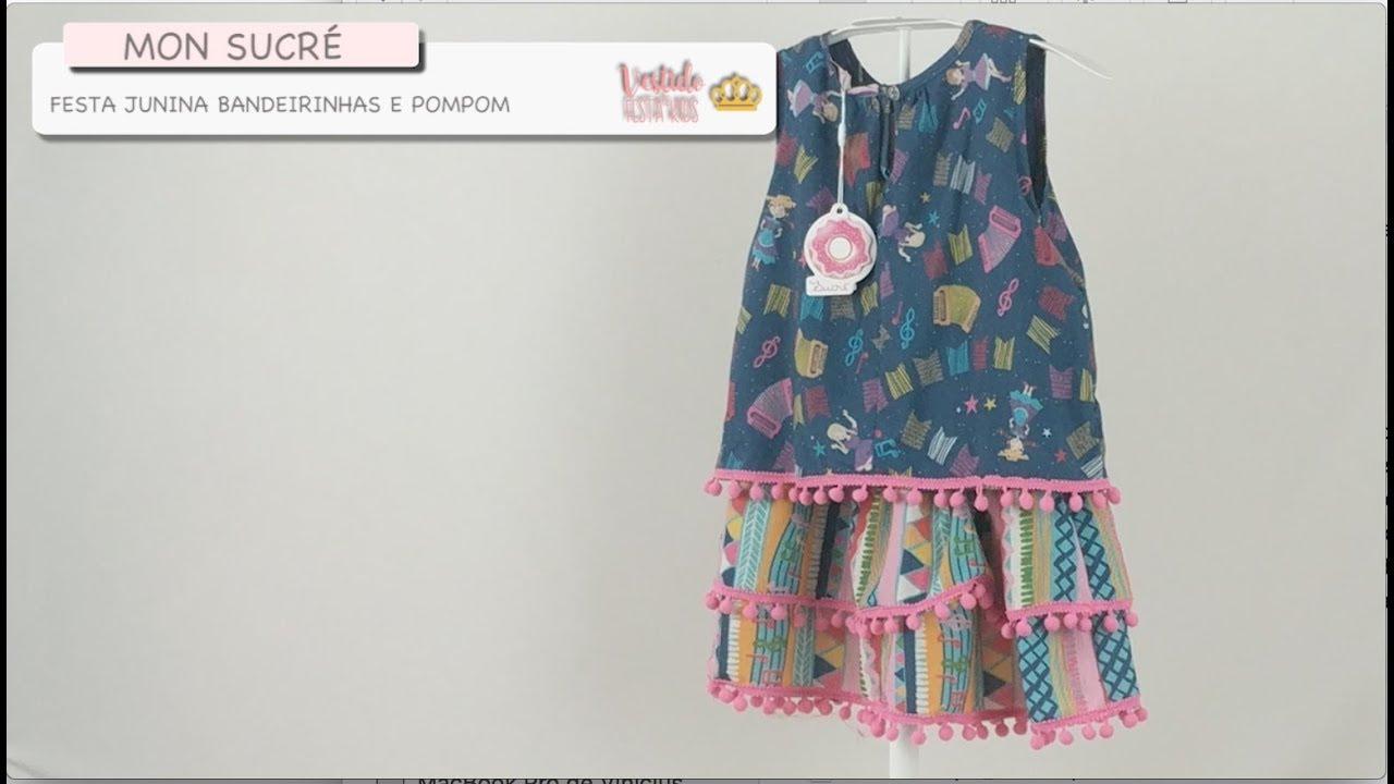 Vestido Infantil Casual Mon Sucré Festa Junina Colorido Bandeirinhas E Pompom