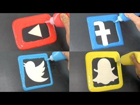 Social Media Pancake Art - YouTube, Facebook, Twitter, Snapchat