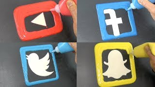 Social Media Pancake Art - YouTube, Facebook, Twitter, Snapchat