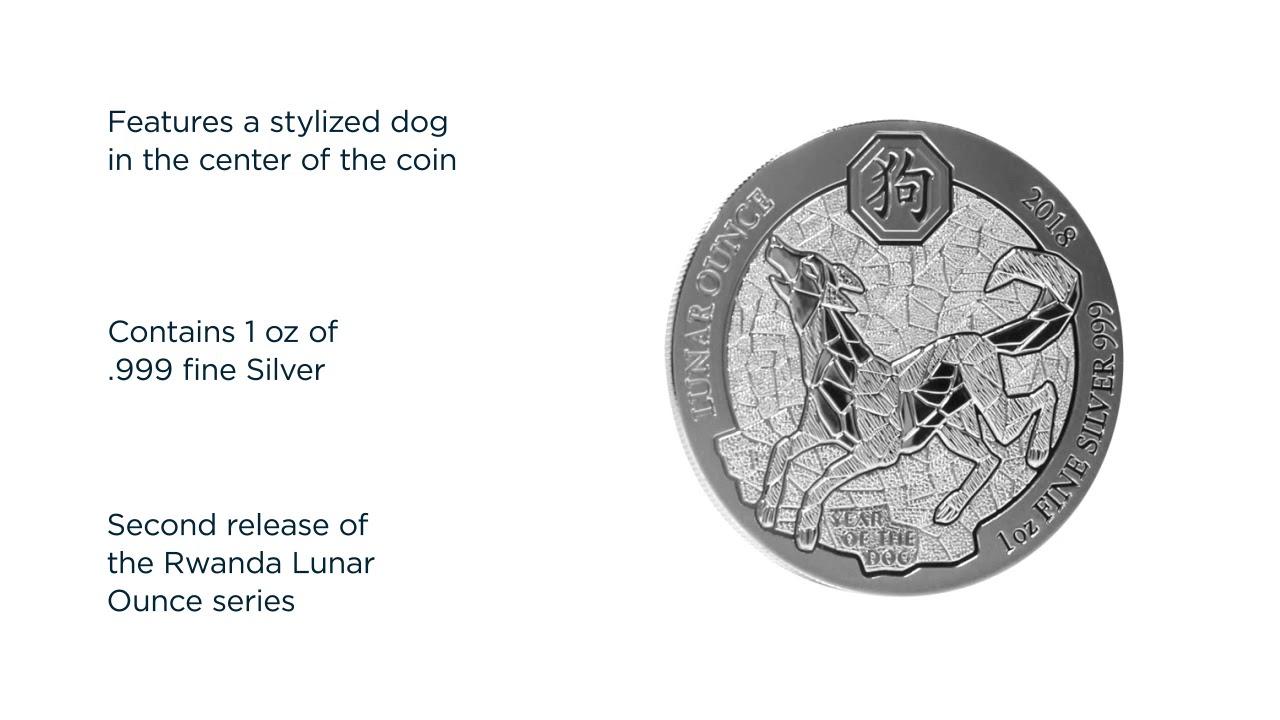 2018 Rwanda 1 oz .999 Silver Lunar Dog BU