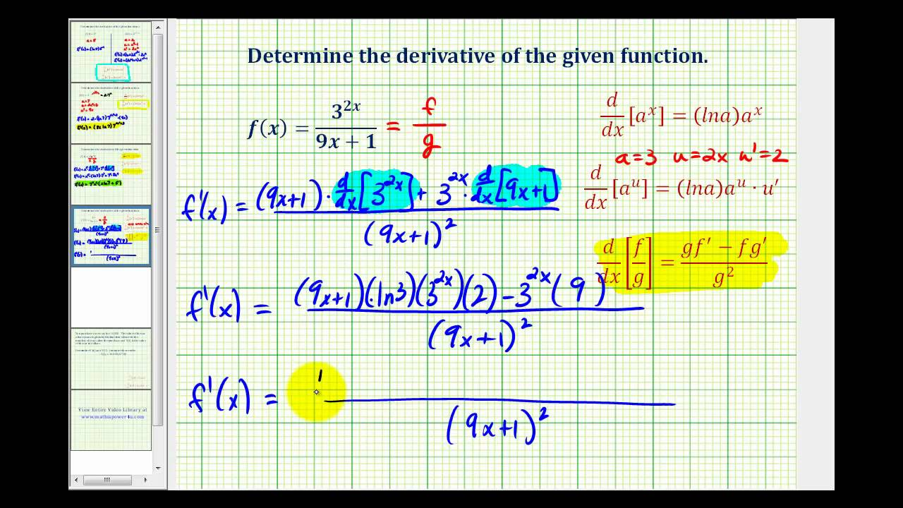 Ex 4: Derivatives of Exponential Functions with the ...