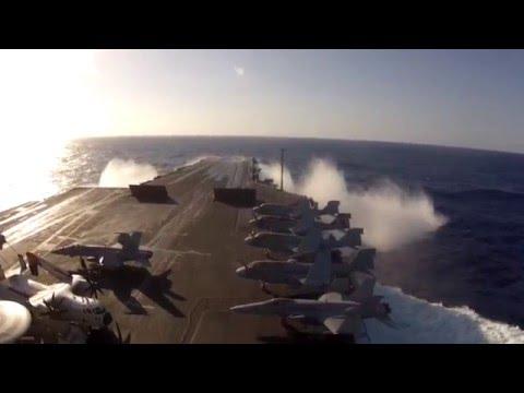 USS Enterprise vs Hurricane Sandy's Waves