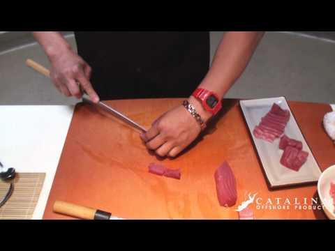 Sushi Tutorial: How to cut and prepare Fresh Yellowfin Ahi Tuna (Maguro)