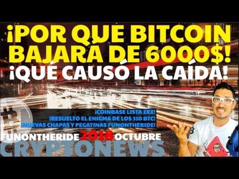 ¡POR QUÉ BITCOIN BAJARÁ DE 6000$! ¡CAUSA DE LA CAÍDA! /CRYPTONEWS 2018 Octubre/12