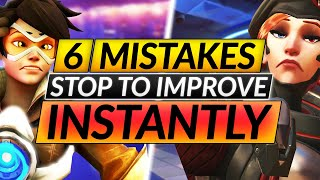 Top 6 WORST MISṪAKES Everyone Makes - INSTANTLY INCREASE Your RANK - Overwatch Guide