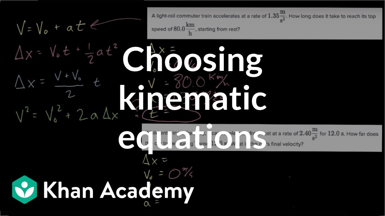 Choosing kinematic equations (video) | Khan Academy