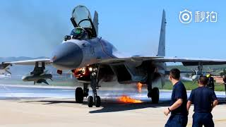 J-15 Emergency Landing with Engine Fire after Bird Strike