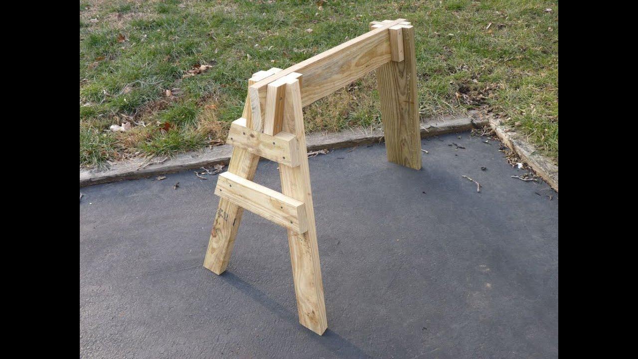 C mo hacer un burro de trabajo de tres patas youtube - Caballetes de madera ...