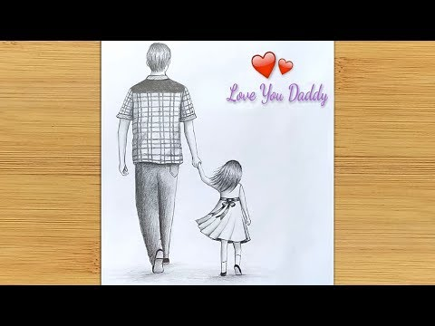 Father's day special drawing     Easy way to draw Father and Daughter -step by step thumbnail