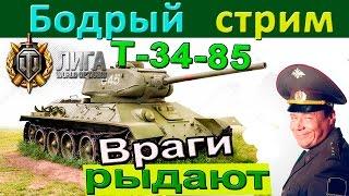 Т-34-85 | Бодрый стрим. Никаких кустов, но враги мрут и плачут перед Т 34 85