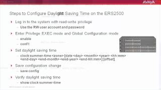 How to Configure Daylight Saving Time on the Avaya ERS2500