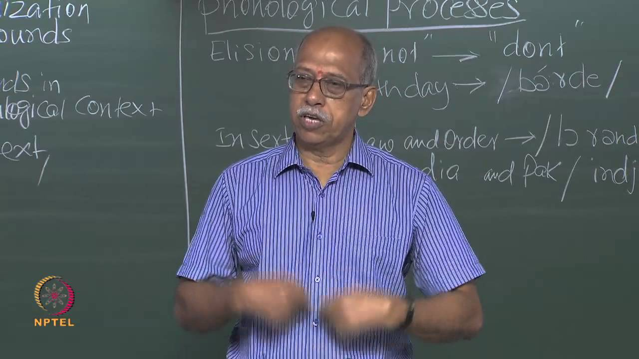 Mod-01 Lec-17 What is Phonology
