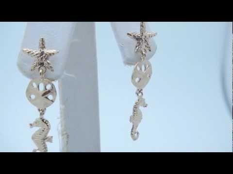 14K Yellow Gold Starfish, Sanddollar, & Seahorse Drop Earrings - AZ13115DZ