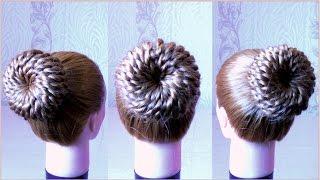 Прическа пучок. Видео урок 1. Hair donut. Tutorial(Канал с прическами http://www.youtube.com/user... Предлагаю вам коллекцию оригинальных и красивых причесок.Мои видео..., 2015-03-26T13:07:08.000Z)
