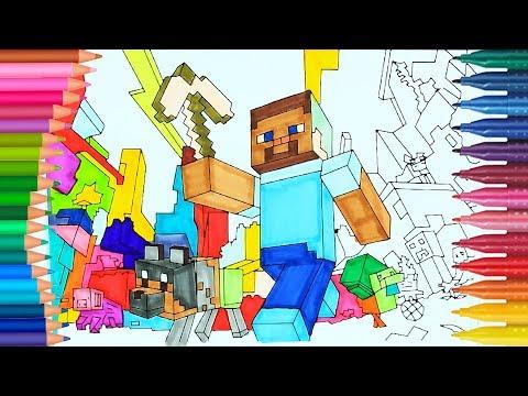 Minecraftowy Steve I Pies 🎮🏘   Jak Narysować   Małych Rączek Kolorowanka Dla Dzieci   Kolorowanki