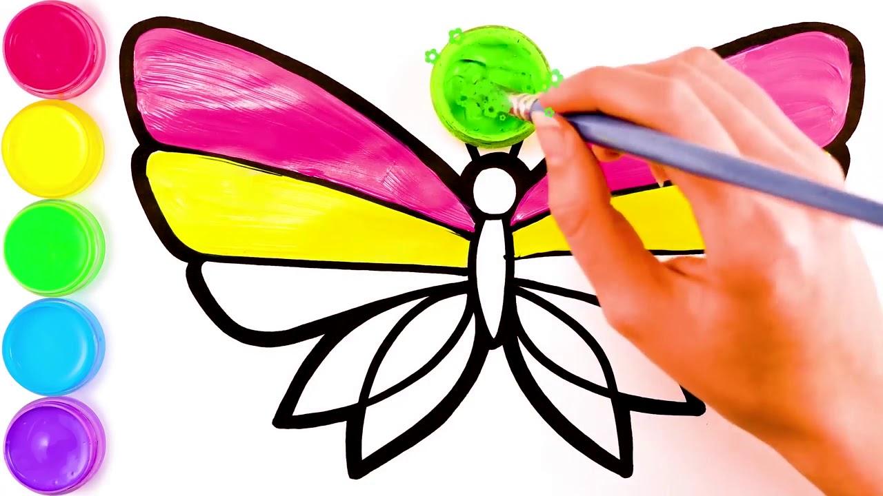 Бабочка, рисунок и раскраска для детей - YouTube