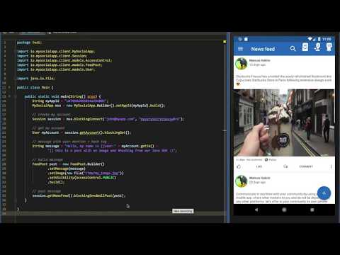 MySocialApp - Java SDK example with Android emulator