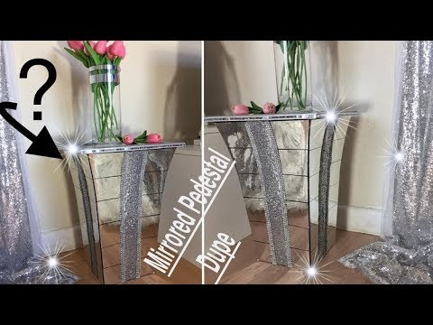 DIY 'Mirrored' Pedestal Dupe.Glamorous Mirrored Nightstand Dupe Made with a Planter.