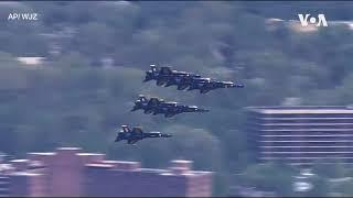 美国军机飞越华盛顿上空 向抗疫英雄致敬