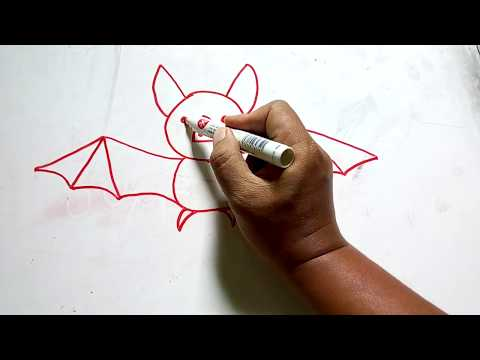 How to draw bat in easy way - Cara mudah menggambar kelelawar