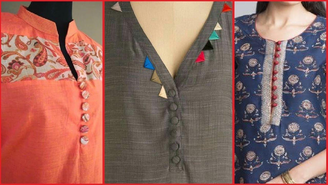 simple kurta kurti kameez neck designs with buttons
