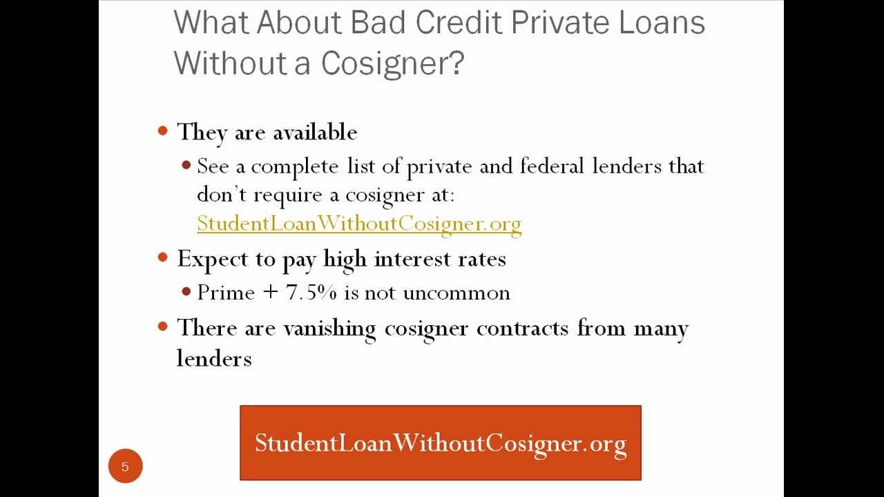 Bad Credit Student Loan Without Cosigner - YouTube