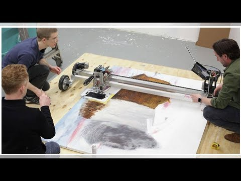 Robots help artist bring fine bison hair to pricey paintings