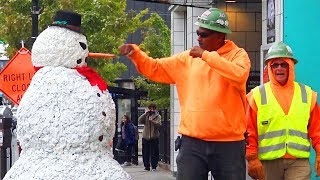 Scary Snowman Goes To Columbus Ohio - You Laugh You Win