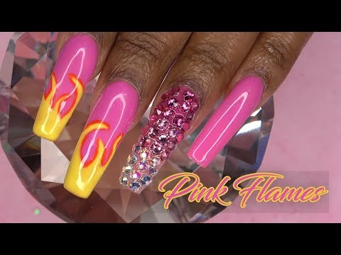 Pink Flames Acrylic Nails with Ombre Bling   Working with Non Dominant Hand   LongHairPrettyNails