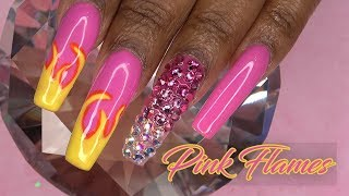 Download Acrylic Nails Tutorial - How To Acrylic Nails with Nail Tips Pink Flames Bling - Non Dominant Hand Mp3 and Videos